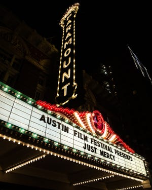 """The marquee at  the Austin Film Festival red carpet for """"Just Mercy"""" at the Paramount Theatre on Oct. 31, 2019."""