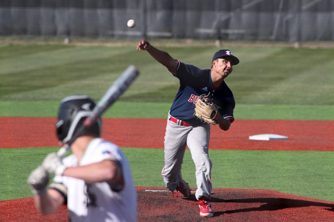 Plainview Bulldogs pitcher Zach Hernandez (1) delivers a pitch during a District 3-5A game March 30 against Amarillo High at Sandie Field. [Michael C. Johnson/For Amarillo Globe-News]