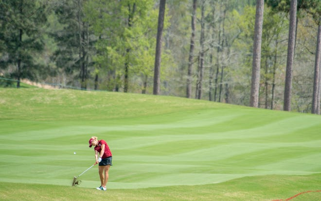 Pauline Roussin-Bouchard hits off the 18th fairway during the first round of the 2021 Augusta National Women's Amateur at Champions Retreat Golf Club in Evans, Ga., Wednesday morning March 31, 2021.