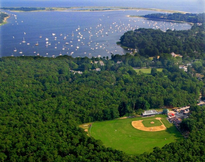 Aerial view of Lowell Park, Cape League home of the Kettleers, overlooking Cotuit Bay.