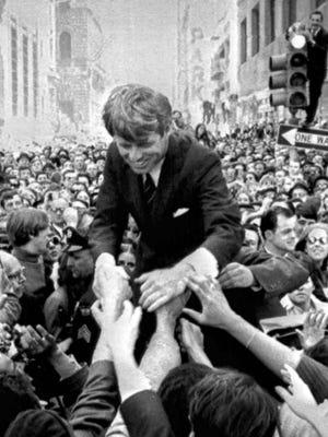 Sen. Robert Kennedy greets supporters in Philadelphia on April 2, 1968.