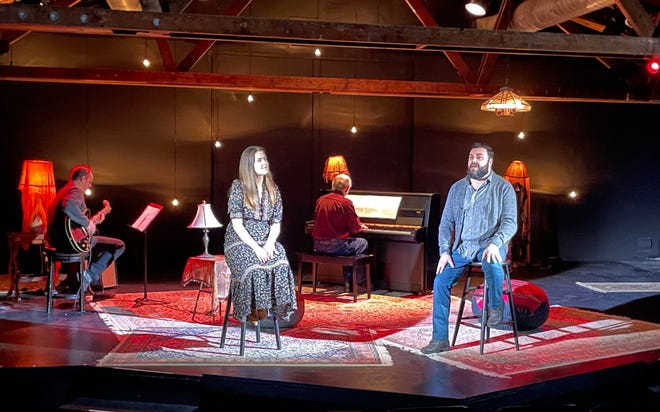 """Meghan McGrath, second from left, and Anthony Teixeira, right, perform for """"The Vinyl Sessions,"""" a virtual reimaging of Carole King's """"Tapestry"""" album presented by Cape Rep Theatre."""