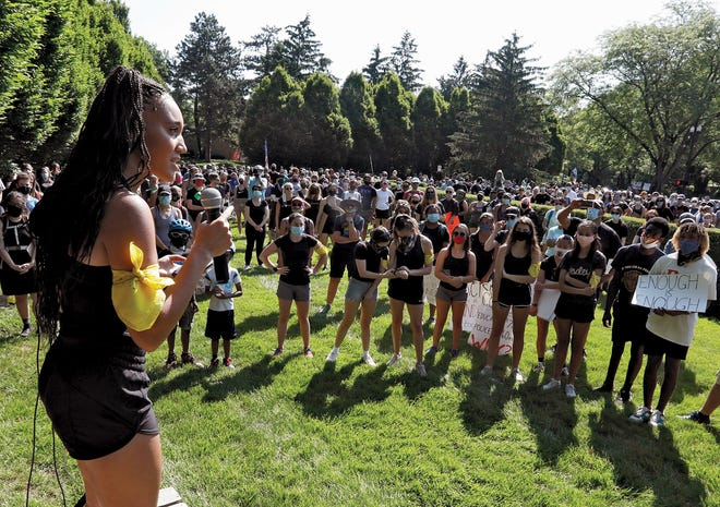 CAPTION:KayahWoodford speaks at the Bexley Anti-Racism Project protest in June 2020.