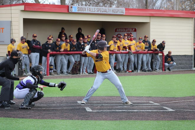 Landyn Swenson at bat in a game against Sioux Falls on March 25. Swenson and the Minnesota Crookston baseball team split with Augustana Tuesday afternoon.