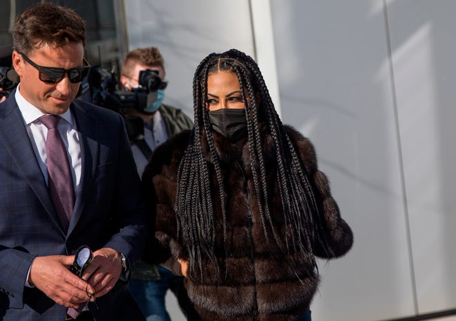 """""""The Real Housewives of Salt Lake City"""" star Jen Shah leaves federal court in Salt Lake City, Tuesday, March , 30, 2021. Shah, who is married to an assistant football coach at the University of Utah, faces federal fraud charges in New York. [Spenser Heaps/The Deseret News via AP]"""