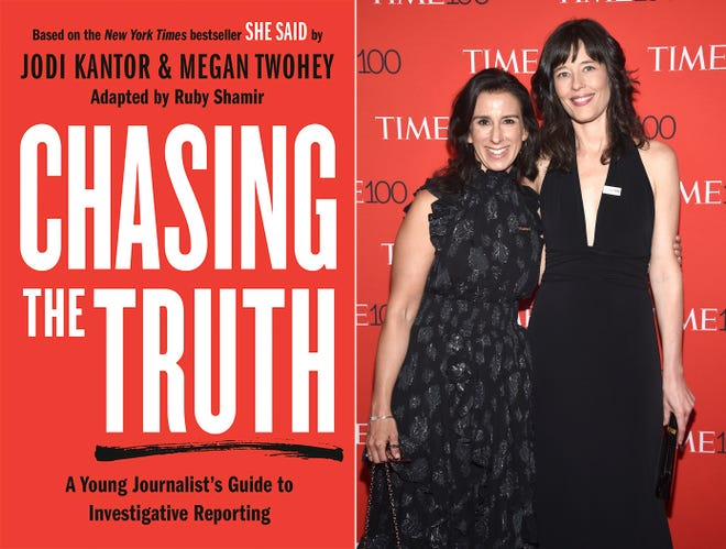 """This combination of photos shows the cover image for """"Chasing the Truth: A Young Journalist's Guide to Investigative Reporting,"""" left, and a portrait of New York Times journalists Jodi Kantor and Megan Twohey, at the Time 100 Gala  in New York on April 24, 2018. Their book will be published Sept. 14. [Philomel via AP, left, and AP Photo]"""