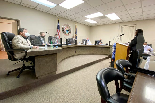 Finance Director Sandra Cost Williams addresses the Donaldsonville City Council during the finance report March 23.