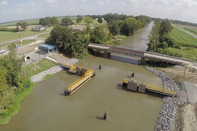 The Assumption Parish water control structure was closed due to high water levels from recent rains.