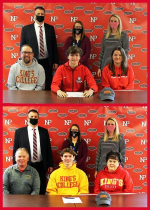King's College Bound: Owen Foytack, with his parents Mark and Nicole Foytack (top photo front row) and Travis Lane, with his parents Christopher and Debbie Lane (bottom photo front row) are two North Pocono seniors that will continue their cross country and track careers at the collegiate level. Also on hand for both signing ceremonies were Ron Collins, Principal, Faith Nicosia, Cross Country Coach, Eliza Maganzini, Athletic Director.