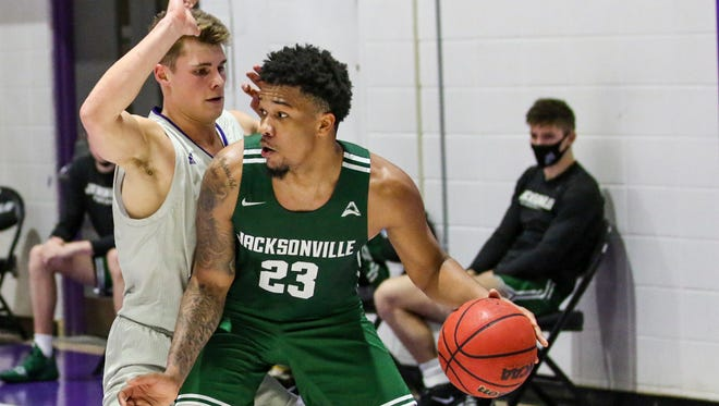Jacksonville University guard Tyreese Davis (23) will return to the Dolphins for his junior year after entering the NCAA transfer portal.