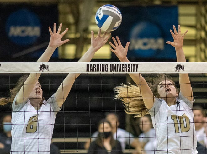 Former Glen Rose Lady Tigers Logan Smith (10) and Libby Hinton (6) had 19 and 12 kills, respectively, on Tuesday night in NCAA Div. II No. 6  Harding's 3-2 win over Arkansas Tech to wrap up the Great American Conference Eastern Division Championship. The Bisons (9-0) also earned the No. 1 seed for the GAC Tournament that begins next week. Harding has a first-round bye, and if the Bisons win their second-round match, they will host the semifinals and finals on April 10-11 in Searcy, Arkansas.