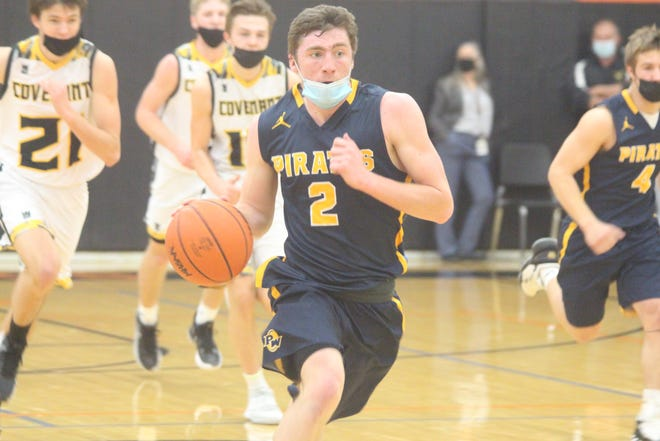 PW junior Brock Thelen runs up the floor on a fast-break during their regional semifinal loss on Tuesday, March 30, 2021