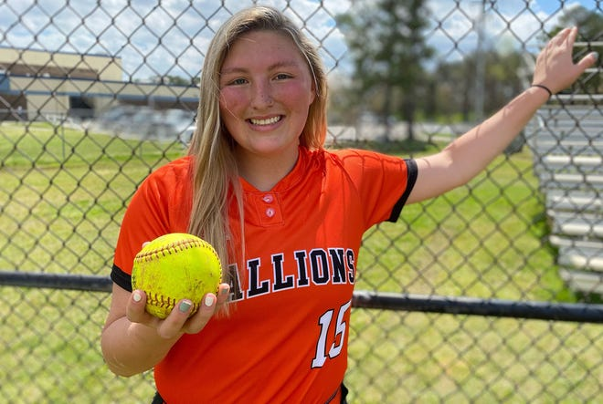 Southwest junior Annabel Rocha doesn't let her Scoliosis from stopping her from playing softball, the sport she's loved since she was 5. [Chris Miller / The Daily News]