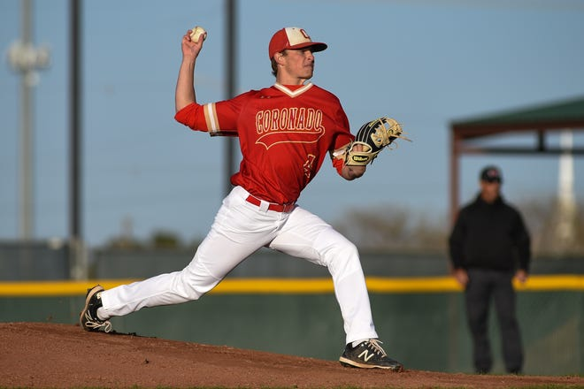 Coronado's Preston Schmid (4) throws a pitch during the baseball game against Lubbock on Tuesday March 30, 2021 at Max O'Banion Field in Lubbock, Texas.