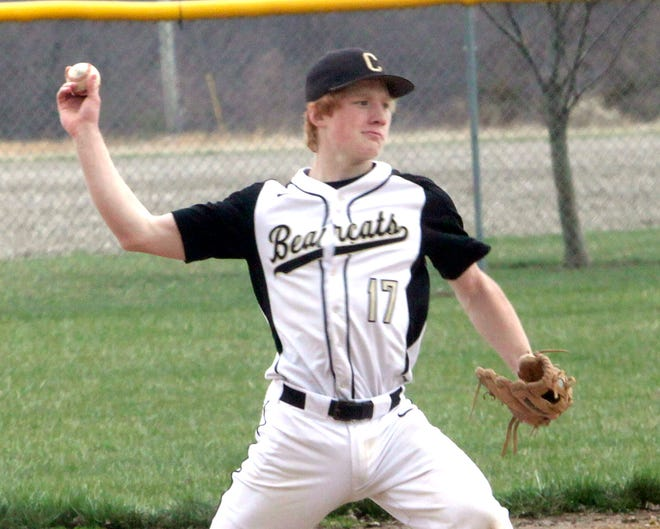 Cairo third baseman Logan Hughes executes a throw across the ball diamond to first base. Hughes and the Bearcats baseball team improved its season record to 4-0 Tuesday after defeating New Franklin 2-0 at home.