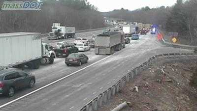 Spilled concrete prompted the closing of the westbound side of the Mass Pike this morning.