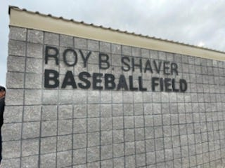 The new signage behind the home dugout at the new Roy B. Shaver baseball field at the junior high athletic complex.