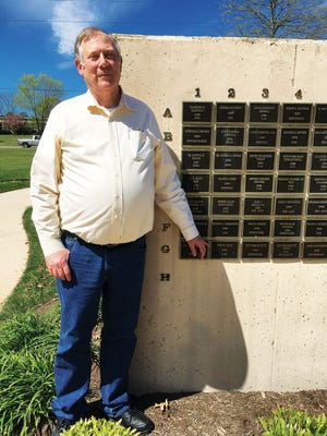 Dick Sites at the Secret City Commemorative Walk in Oak Ridge. He's pointing to the plaque with his father's name on it, John R. Sites, a physicist who was recruited out of graduate school to come to Oak Ridge to work on the Manhattan Project in 1944. John worked in a mass spectrometry lab at Y-12 until he retired in 1983.