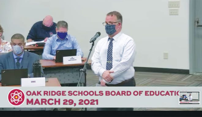 This screenshot from Monday night's Oak Ridge Board of Education meeting shows Oak Ridge Education Association's Mike Carvella presenting the proposal that includes 5% pay increases for school staff and other employees.