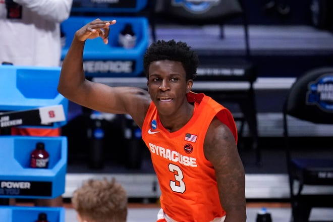 Syracuse forward Kadary Richmond (3) could be a notable loss because of his defensive contributions in the Orange's zone defense and his ability to run the offense. He is in the transfer portal.