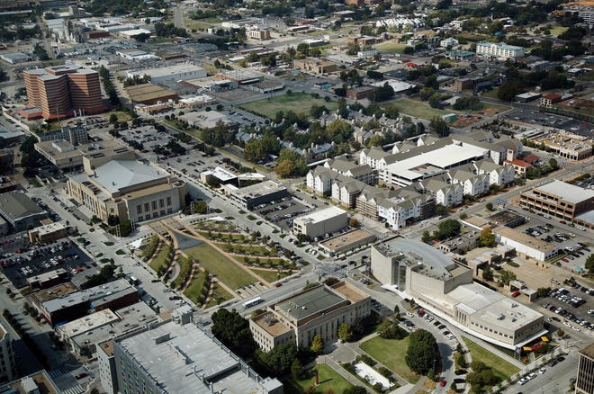 Oklahoma City Municipal Building (City Hall), bottom, and the Oklahoma City Museum of Art, lower right.