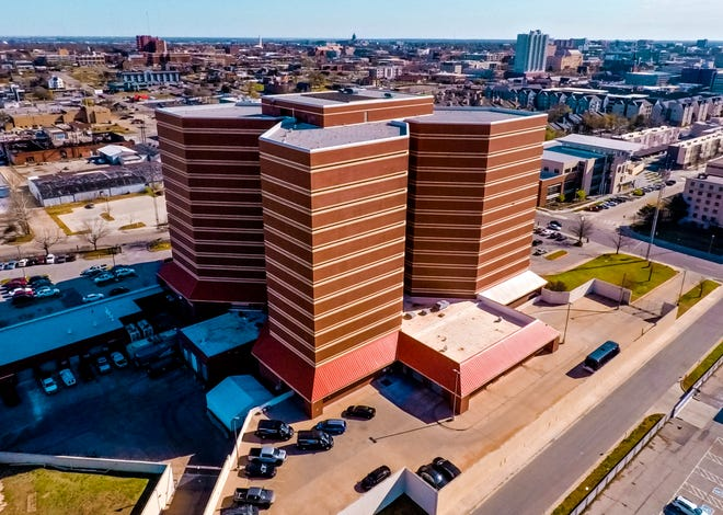 The Oklahoma County jail in Oklahoma City is shown on March 31.