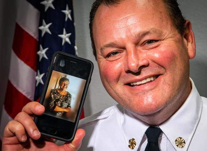 """Ocala Fire Rescue Chief Shane Alexander lost his mother, Betty, to COVID-19 in February of 2020. """"We talk about her every day. We try to keep her in our memory,"""" Alexander said. """"She contracted it while on a cruise in January."""""""