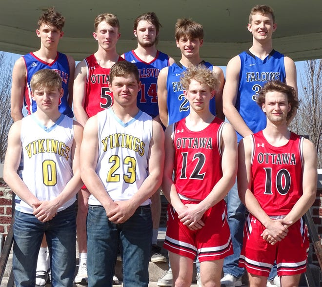 The 2021 Ottawa Herald All-Area boys basketball team members are front row (from left), Jarod Crawford, Central Heights; Brady Burson, Central Heights; Noah McCullough, Ottawa; Brady Beets, Ottawa; back row, Jimmy Dorsey, Wellsville; Jake Titus, Ottawa; Kaden O'Neil, Wellsville; Trey Rogers, West Franklin: and Cade Fischer, West Franklin. Not pictured are Ethan Rowan, Central Heights, and Jackson Showalter, Wellsville.