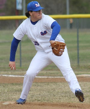 Mountainburg pitcher Ryan Steinsiek warms up during Tuesday's nonconference game against Mulberry at home.