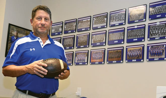 Head coach Tom Harrell, in August 2019, stands in front of team photos going back to 1990, his first year at Mountainburg.