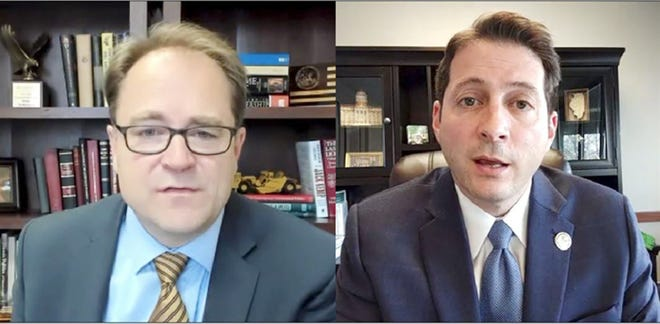 Senate Republican Leader Dan McConchie, left, and Sen. Jason Barickman discuss the GOP's latest proposal for redistricting reform during a virtual news conference Tuesday.