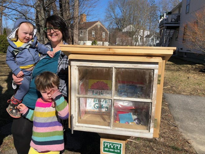 Erica St. Norton just opened the Little Free Art Gallery on Columbus Avenue in Exeter. She is pictured with her children, Winnie, 4, and Wally, 1 ½ .