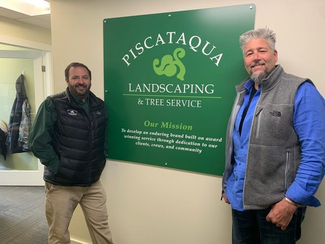 Justin Gamester, CEO of Piscataqua Landscaping & Tree Service, with Phil Borelli, previous owner of Community Landscaping Company, based in Wolfeboro. Piscataqua has acquired the Community Landscaping Company.