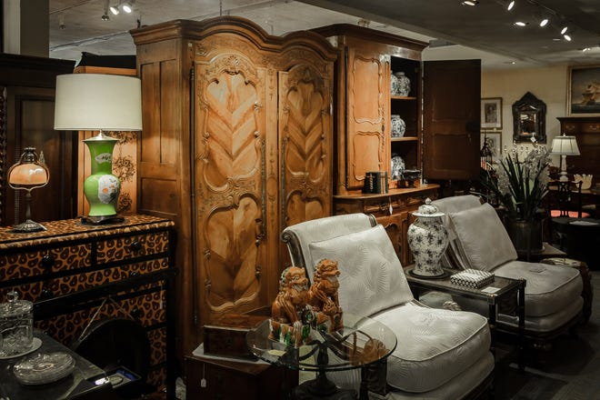 A section of the showroom at The Elephant's Foot Antiques in West Palm Beach.