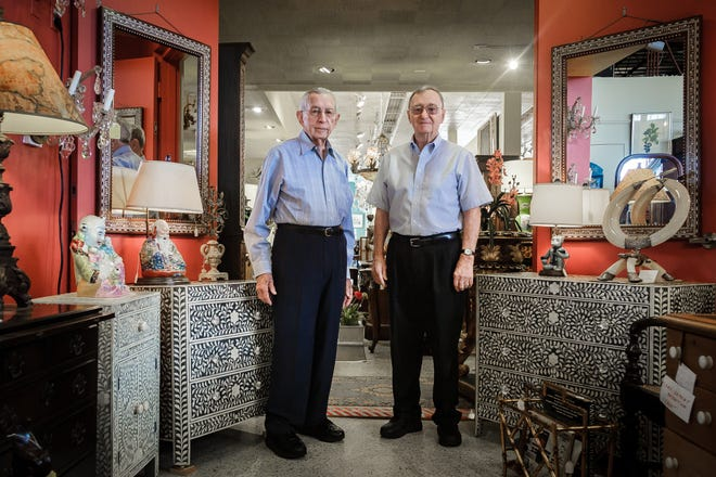 Marvin Ray and Ronald French, both of Palm Beach Gardens, in a portrait at The Elephant's Foot Antiques in West Palm Beach last month.