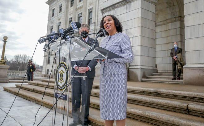 Sabina Matos with Governor Dan McKee