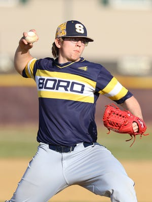 Streetsboro's Evan Morris pitching during Tuesday night's game at Southeast High School.