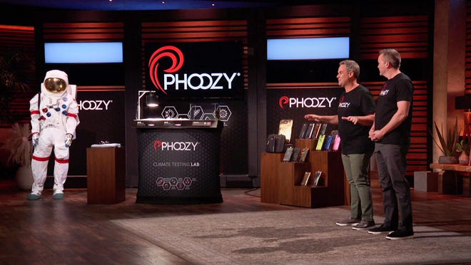 """Kevin Conway, left, and Josh Inglis, a Hoover High graduate, appeared on Friday's episode of the popular reality television show, """"Shark Tank."""" Conway and Inglis are co-founders of PHOOZY, a company specializing in thermal capsules for cellphone protection."""