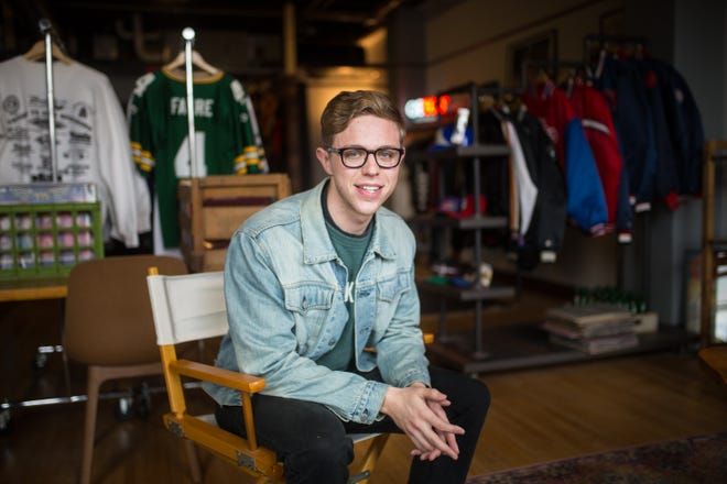 Ryan Smiley, 23, of Rockford, is shown here at his new vintage store at Indoor City Market on Wednesday, March 31, 2021, in Rockford.
