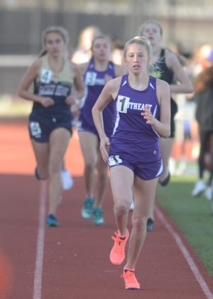 Southeast of Saline junior Jentrie Alderson leads the girls 1,600-meter race in the Saline County Invitational meet earlier this spring at Salina Stadium. Alderson and Trojans teammate Dylan Sprecker will compete at the elite Trials of Miles meet on Saturday in Leavenworth.