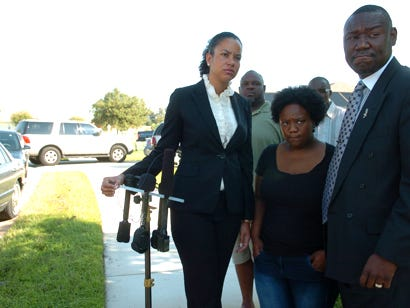 Attorney Benjamin Crump, right, attends a press conference in 2011 after a nightclub shooting in Palmetto. Accompanying Crump are Alisisa Adamson, left, and Nikita Goff. Crump is currently representing the family of George Floyd, who was killed by a police officer in Minneapolis now on trial.
