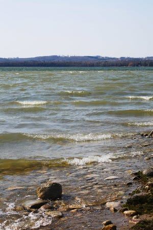 Winds generates endless waves on the inland Crooked Lake.