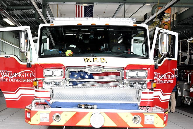 A Wilmington Fire Department hose accidentally damaged several cars on the way to a call this week.