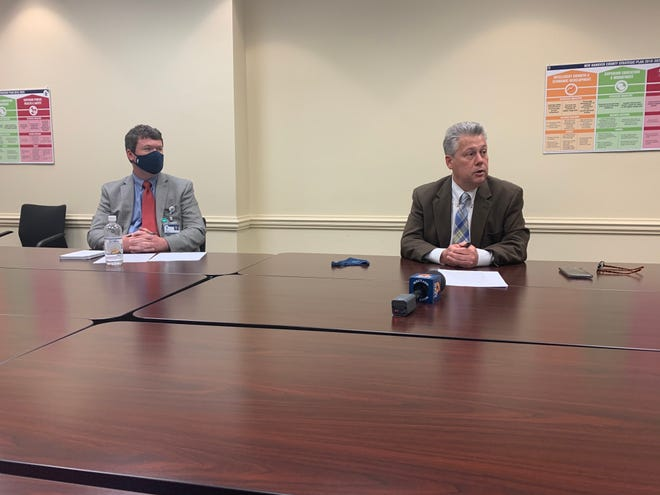 New Hanover County Intergovernmental Affairs Manager Tim Buckland and County Manager Chris Coudriet discuss the spending framework for the approximately $45.4 million that the county will receive from the federal American Rescue Plan.