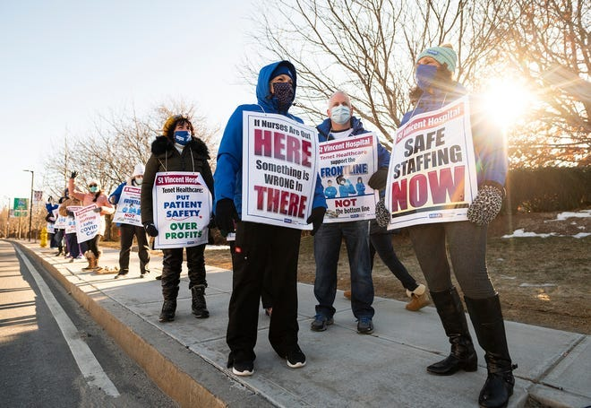 About two dozen nurses from St. Vincent Hospital in Worcester were on the picket line earlier this week in their fight for safer working conditions.