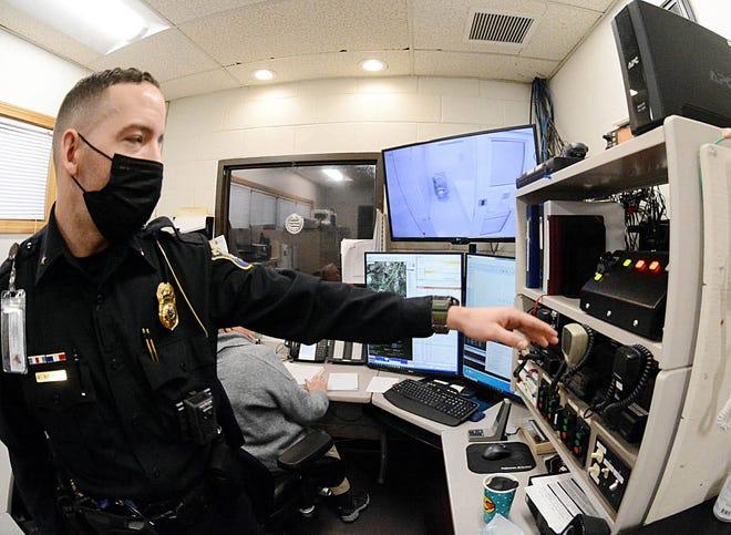 Plainfield Deputy Police Chief Will Wolfburg in the dispatch center. [John Shishmanian/ NorwichBulletin.com]