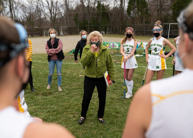 Notre Dame field hockey coach Patty Provost, who recently celebrated her 600th career victory, has the admiration of her team and coaches.