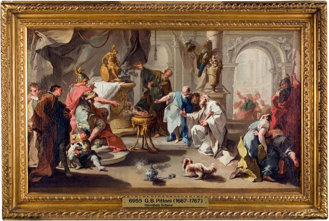 The exhibition at Worcester Art Museum includes this work by Giovanni Battista Pittoni, the younger (Italian, 1687–1767), Hannibal Swearing Revenge against the Romans, about 1720s, oil on canvas, The Selldorff Family in memory of Richard Neumann.