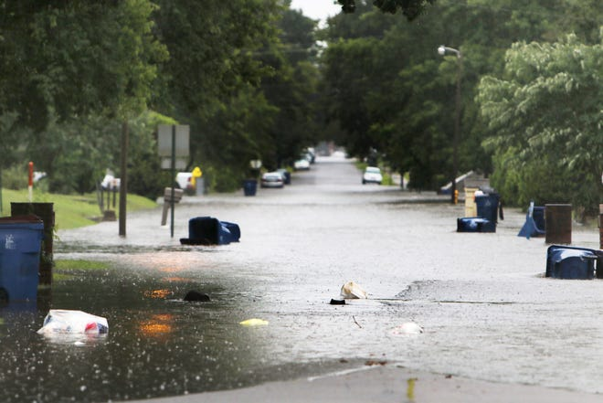 A summer storm in 2020 left many streets in the May Branch area North of downtown left many streets flooded and impassable.