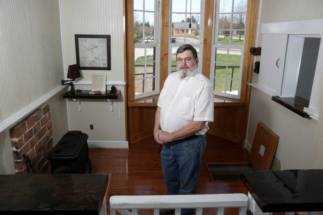 John Hines, Southwest Franklin County Historical Society historian, stands March 30 inside Century Village's newly restored 19th-century train depot, which was moved from its original location at the Grove City Town Center to 4185 Orders Road.